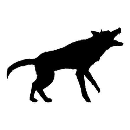 Vector Silhouette Barking German Shepherd Dog Illustration
