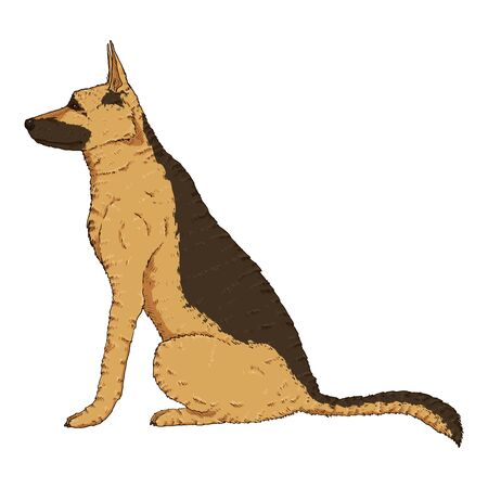 Vector Cartoon Sitting German Shepherd Dog Illustration