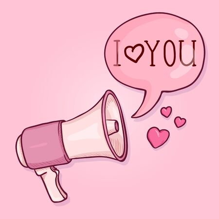 Vector Cartoon Valentines Day Postcard. Pink Loudspeaker with Text Bubble I love You