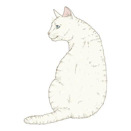 Sitting White Cat. Vector Single Cartoon Illustration