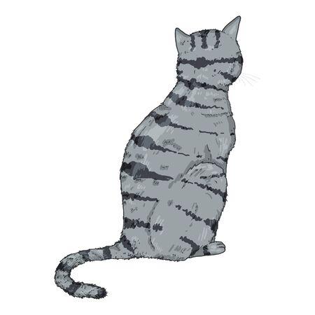 Sitting Gray Striped Cat. Vector Cartoon Illustration