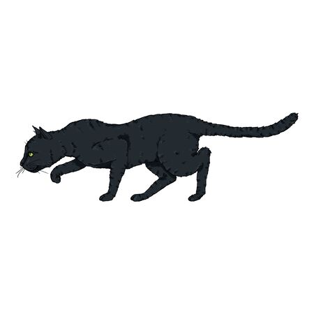 Sneaking Black Cat. Vector Single Cartoon Illustration
