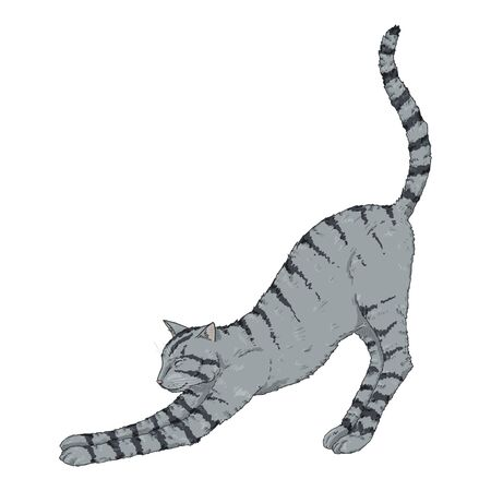 Gray Striped Cat. Vector Cartoon Illustration Reklamní fotografie - 138389483