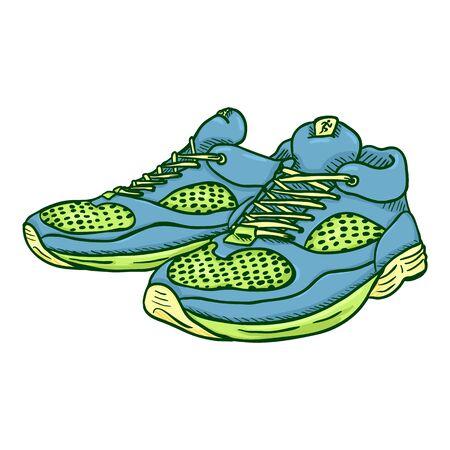 Vector Cartoon paire de chaussures de course vertes et bleues.