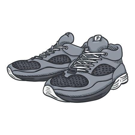 Vector Cartoon Pair of Gray Running Shoes Vetores