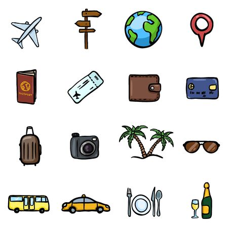 Vector Set of Color Doodle Travel and Vacation Icons
