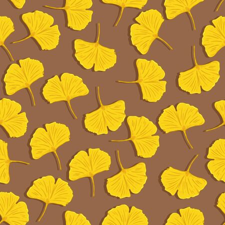 Vector Seamless Pattern of Yellow Ginkgo Leaves on Brown Background