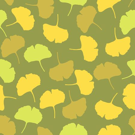 Vector Seamless Pattern of Flat Autumn Ginkgo Leaves