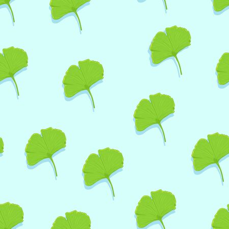 Vector Seamless Pattern of Green Ginkgo Leaves on Blue Background