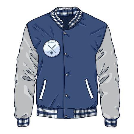 Vector Cartoon Blue Baseball Jacket. Sportswear Illustration.