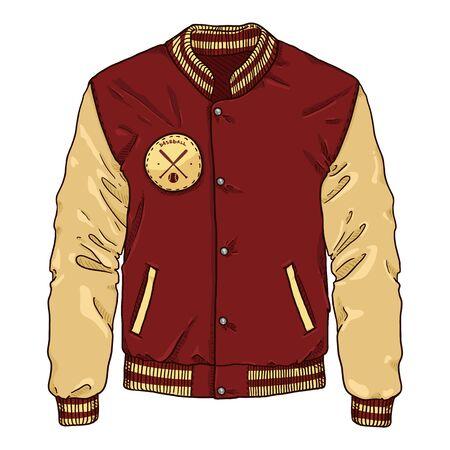 Vector Cartoon Red Baseball Jacket. Sportswear Illustration.