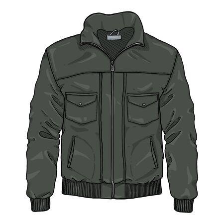 Vector Cartoon Black Lather Mens Jacket