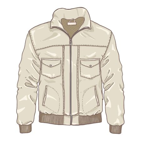 Vector Cartoon Beige Lather Mens Jacket