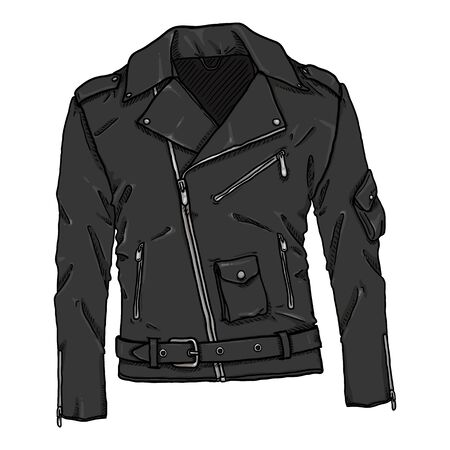 Vector Cartoon Black Leather Jacket. Biker Style Outfit Ilustracja