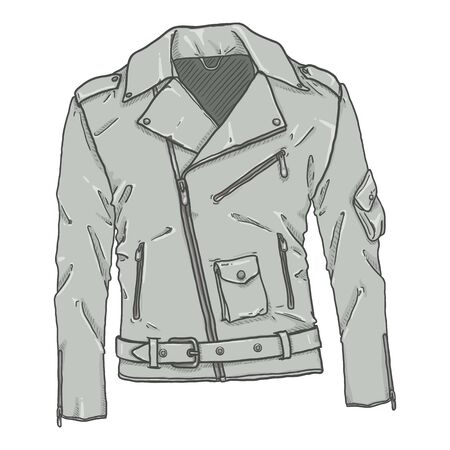 Vector Cartoon Gray Motorcycle Jacket. Biker Style Outfit