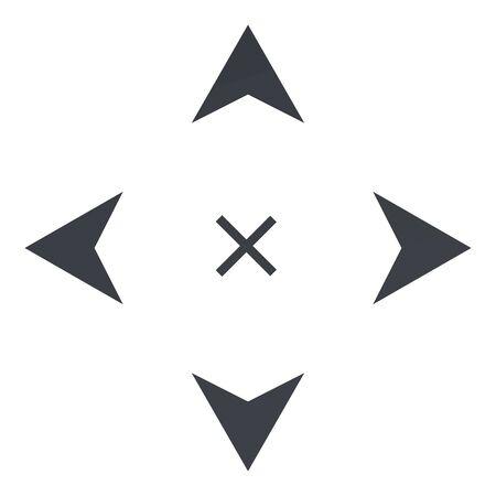 Vector Black Icon - Four Way Arrows on White Background