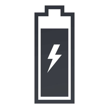 Vector Black Silhouette Icon of Battery Charging on White Background