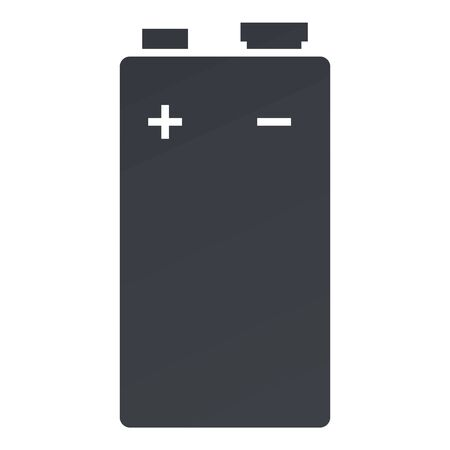 Vector Black Silhouette Icon of 9V Battery with Plus and Minus Sign