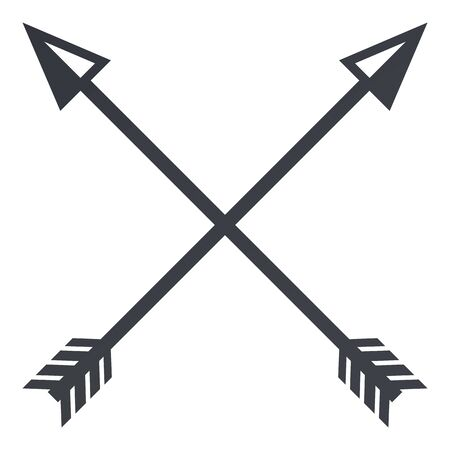 Vector Black Silhouette Medieval Icon of Crossed Arrows on White Background