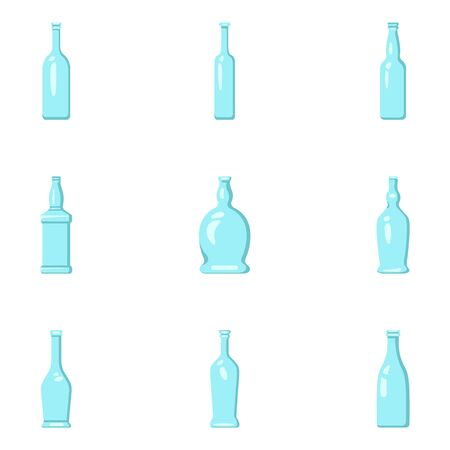 Vector Set of Color Flat Glass Bottle Icons. Alcohol Symbols