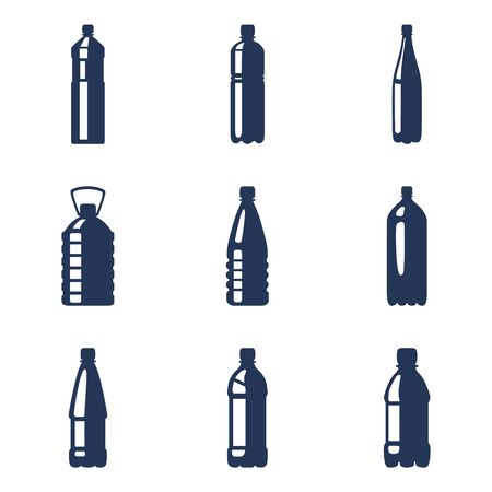 Vector Set of Silhouette Plastic Bottle Icons.