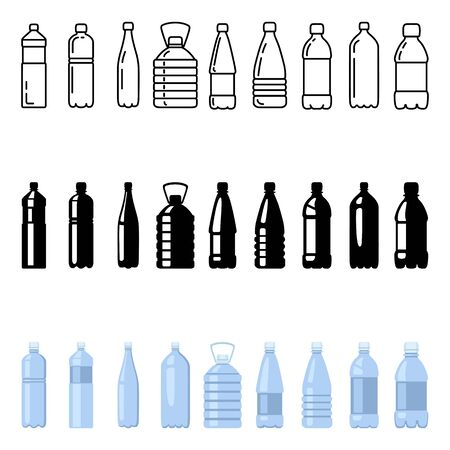 Vector Set of Plastic Bottle Icons. Outline, Silhouette, Color Water Package Symbols.