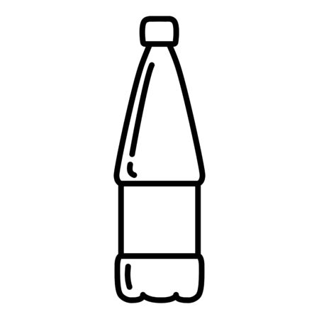Vector Outline Plastic Bottle Icon. Water Symbol. Illustration