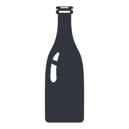 Milk Bottle. Vector Silhouette Icon of Glass Package. Ilustração