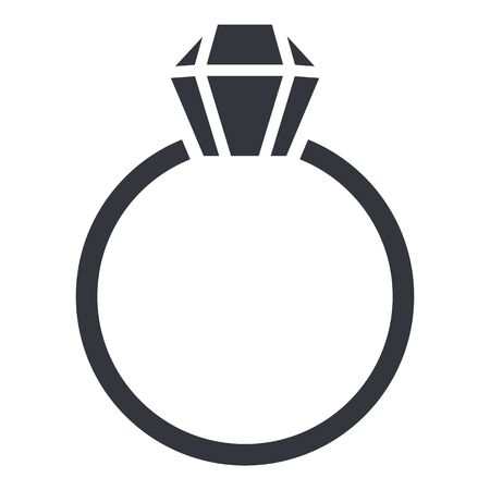 Ring with Diamond - Vector Black Silhouette Icon 矢量图像