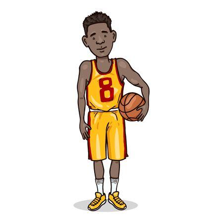 Vector Cartoon Character - Young African Man in Basketball Uniform with a Ball Ilustración de vector