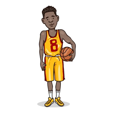 Vector Cartoon Character - Young African Man in Basketball Uniform with a Ball