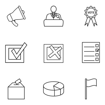 Vector Set of Outline Elections Icons. Politics Vote Pictograms.