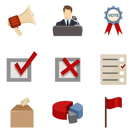 Vector Set of Color Elections Icons. Politics Vote Pictograms.