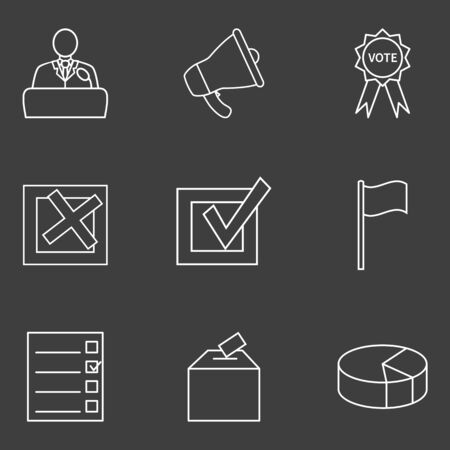 Vector Set of White Outline Elections Icons on Black Background. Politics Vote Pictograms.