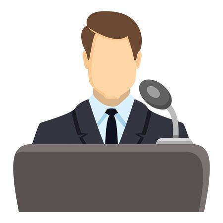 Vector Color Politician Icon - Man in Suit in front of Microphone. Debate Symbol.