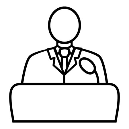 Vector Outline Politician Icon - Man in Suit in front of Microphone