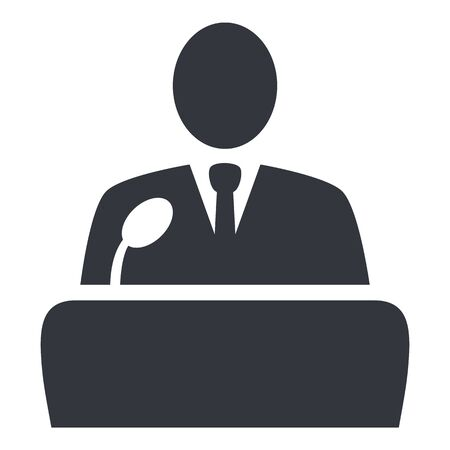 Vector Black Politician Icon - Man in Suit in front of Microphone. Debate Symbol.