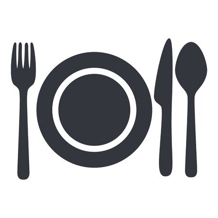 Vector Black Cutlery Icon - Fork, Knife, Spoon and Plate. Ilustracje wektorowe