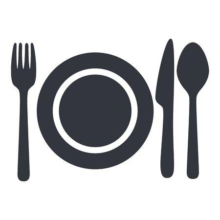 Vector Black Cutlery Icon - Fork, Knife, Spoon and Plate. Vektoros illusztráció