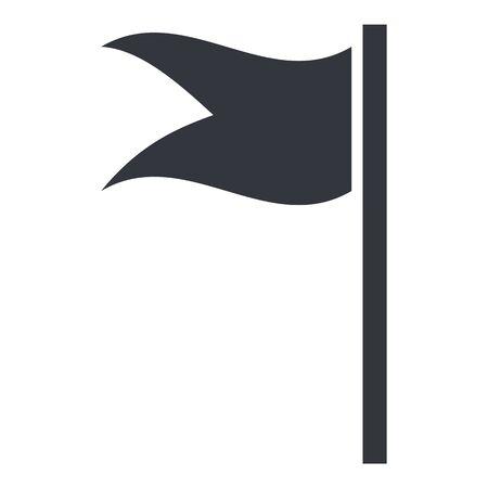 Vector Black Silhouette Flag Icon on White Background