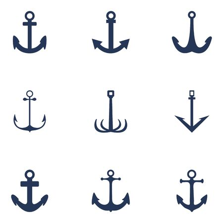 Vector Set of Silhouette Anchor Icons