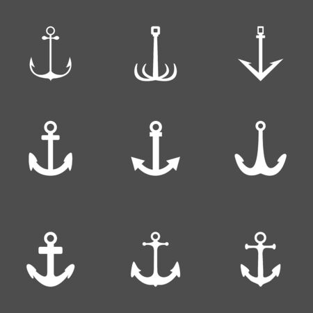 Vector Set of White Anchor Icons on Black Background  イラスト・ベクター素材