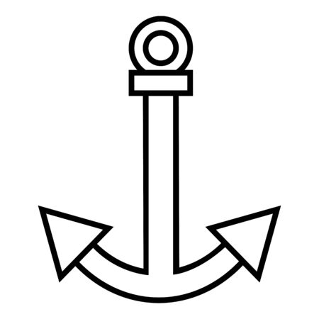 Vector Black Outline Anchor Icon  イラスト・ベクター素材