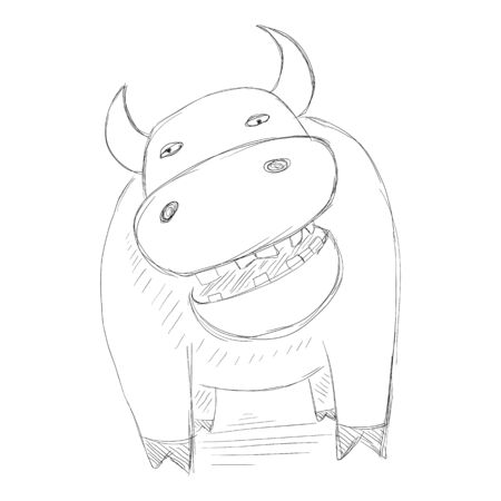 Sketch Taurus. Funny Illustration of Smiling Bull
