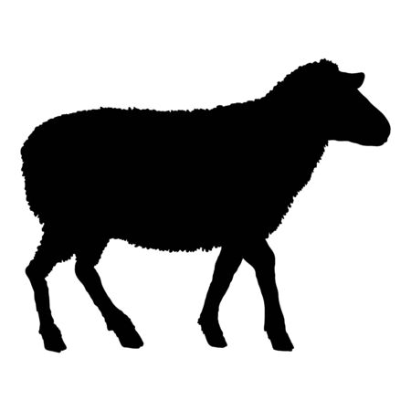 Vector Silhouette Sheep Illustration. Side View