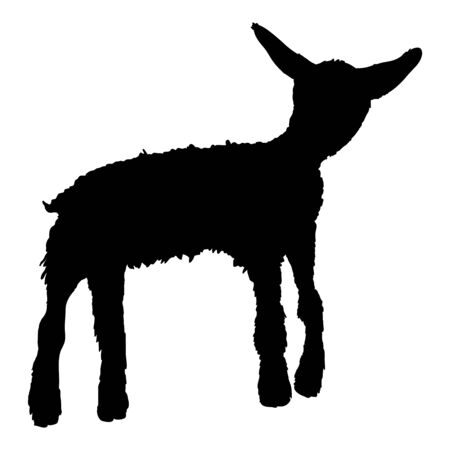 Vector Silhouette Lamb Illustration. Baby Sheep