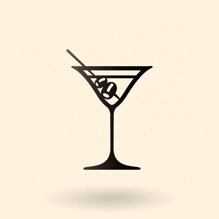 Vector Black Silhouette Icon - Martini Cocktail Drinking Glass Vector Illustration