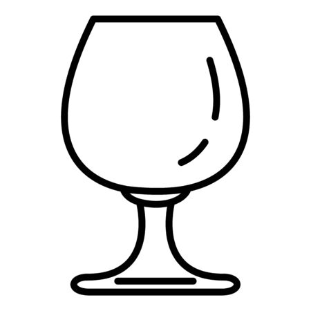 Vector Outline Cognac Glass Icon. Party Pictogram