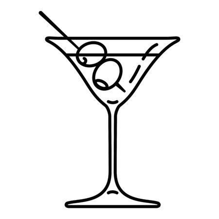 Vector Outline Cocktail Glass. Martini Icon.