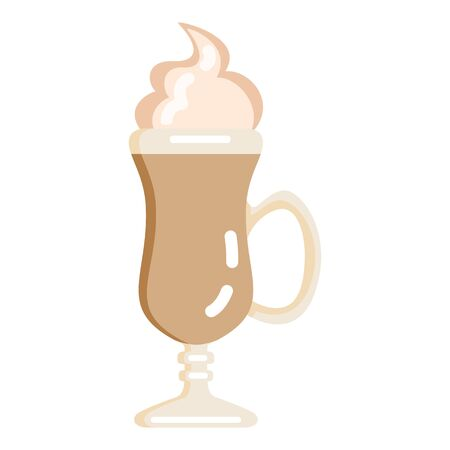 Vector Color Flat Icon - Irish Coffee Glass on White Background